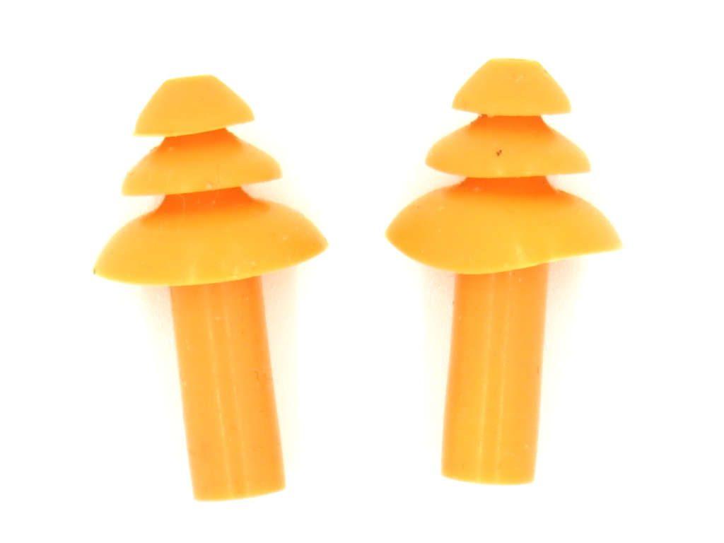 Triple flange silicone earplugs lubricated