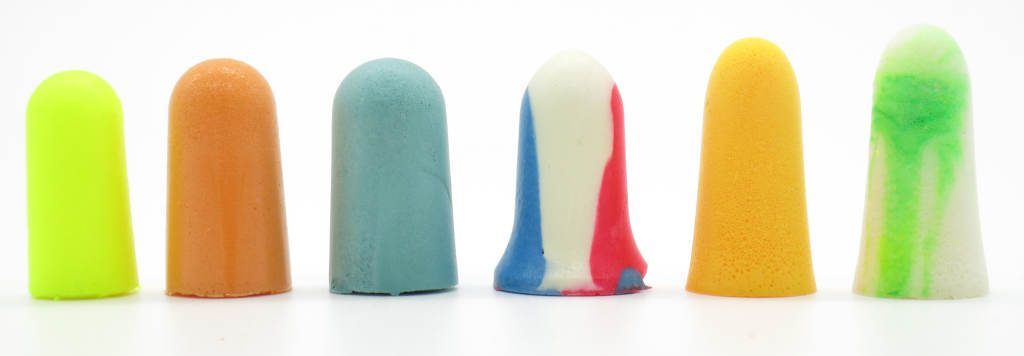 Foam earplugs in different sizes for sleeping