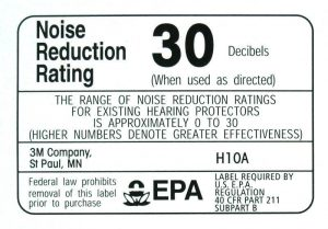 NRR Earmuffs noise reduction label
